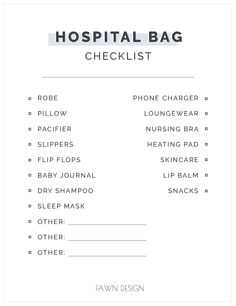Fawn Design Printable Hospital Bag Checklist
