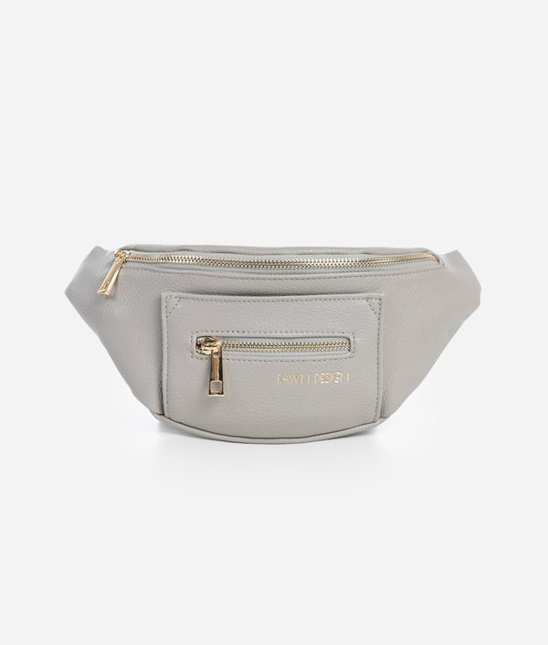 Fawn Design Gray Fawny Pack. Fanny pack, belt bag, premium faux leather. 2 exterior zipper pockets. Adjustable nylon strap.