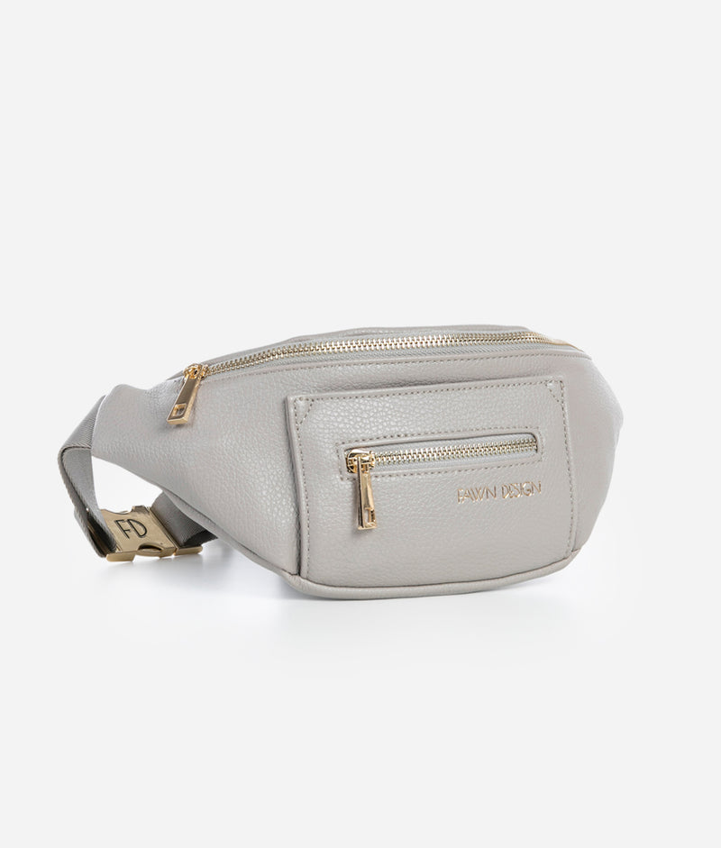 Side view of Fawn Design Gray Fawny Pack. Fanny pack, belt bag, Premium faux leather. Adjustable nylon strap.