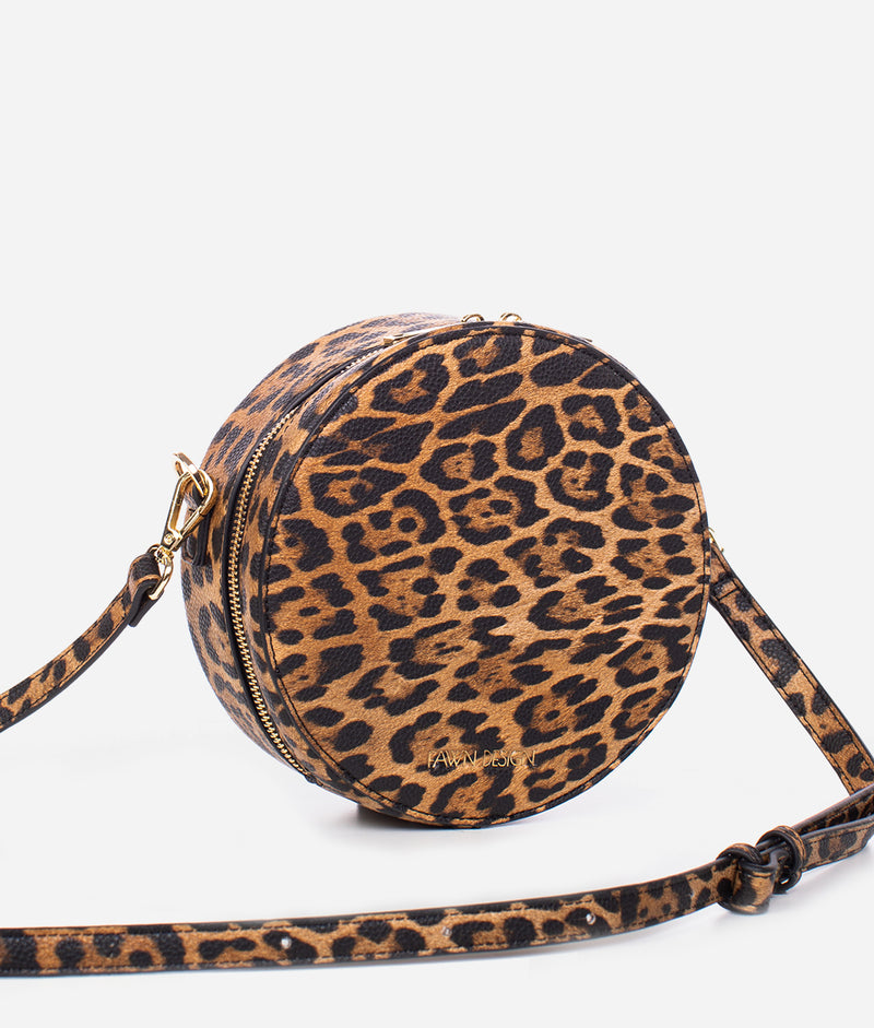 Leopard Print and Circles Luggage Tag Leather for Baggage Suitcase 1 Piece