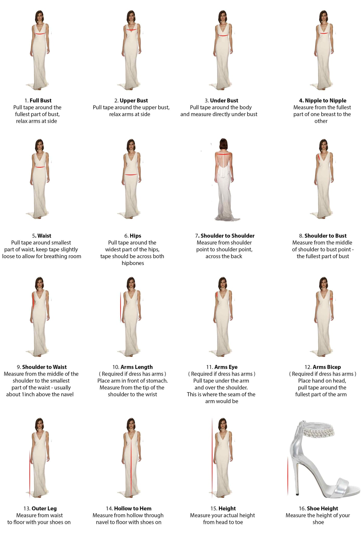 Wedding She Wrote's Measuring Guide for Made-to-order Dresses