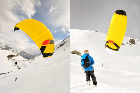Snowkiting backcountry hut adventure
