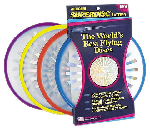 Aerobie Superdisc Ultra.Youll find the Superdisc Ultra to be the most stable and accurate flying disc on the market and I love the soft edge. Its great for players of all skill levels