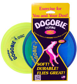 The Aerobie Dogobie flying disc's flexible but tear and puncture resistant material is gentle on your dog's mouth and teeth but sturdy enough to endure fetch after fetch.
