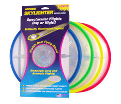 Sktlighter Frisbee from Aerobie, great for night flights as you just need to switch on the powerful LEDs to see it light up