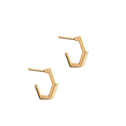 Mini Hexagon Hoop Earrings / Gold