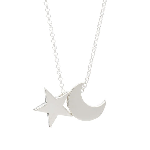 Moon & Star necklace Silver Charm - PANTE