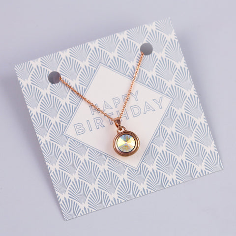 HAPPY BIRTHDAY SENTIMENT CARD WITH ROSE GOLD GEMSTONE NECKLACE