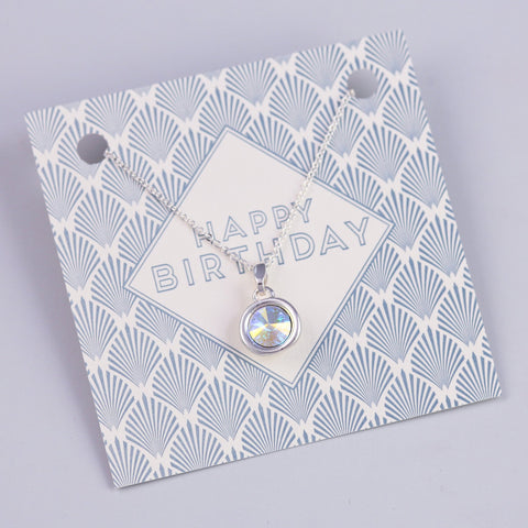 HAPPY BIRTHDAY SENTIMENT CARD WITH SILVER GEMSTONE NECKLACE