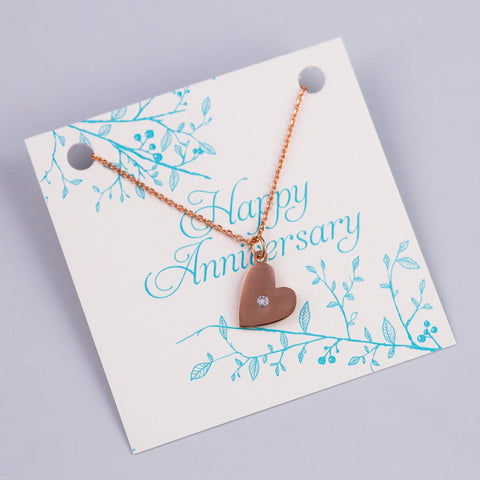 ANNIVERSARY SENTIMENT CARD WITH ROSE GOLD HEART NECKLACE - PANTE