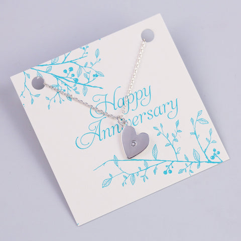 ANNIVERSARY SENTIMENT CARD WITH SILVER HEART NECKLACE