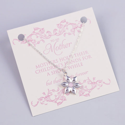 MOTHER SENTIMENT CARD WITH SILVER FLOWER NECKLACE - PANTE