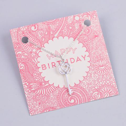 HAPPY BIRTHDAY SENTIMENT CARD WITH SILVER KEY NECKLACE - PANTE