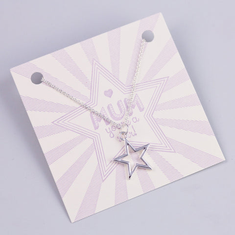 MUM SENTIMENT CARD WITH SILVER STAR NECKLACE - PANTE