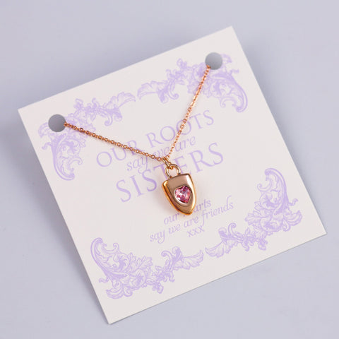 SISTERS SENTIMENT CARD WITH ROSE GOLD HEART SHIELD
