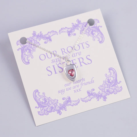 SISTERS SENTIMENT CARD WITH SILVER HEART SHIELD