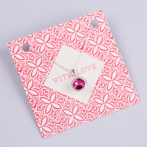 WITH LOVE SENTIMENT CARD WITH SILVER GEMSTONE - PANTE