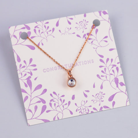 Congratulations Sentiment Card with Small Rose Gold Gemstone