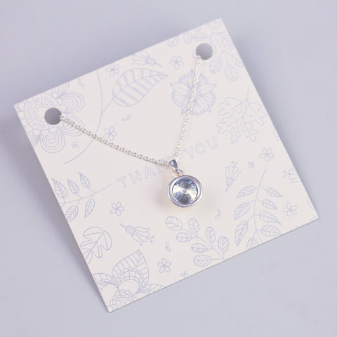 THANK YOU SENTIMENT CARD WITH SILVER GEMSTONE CHARM