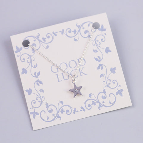 GOOD LUCK SENTIMENT CARD WITH SILVER CRYSTAL STAR - PANTE