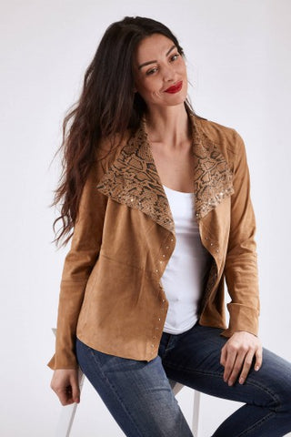WOMEN'S SUEDE LEATHER JACKET - PANTE