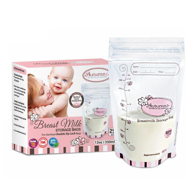 Automaz Breast Milk Storage Bags Double Ziplock 350ml