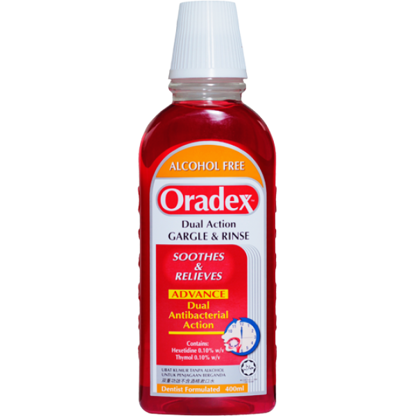Oradex Dual Action Gargle and rince 400ml