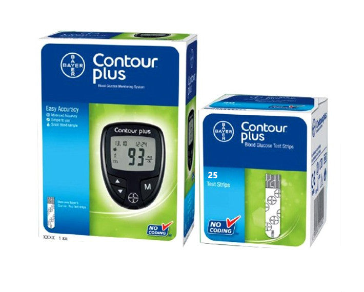 Bayer Contour Plus blood glucose monitoring kit with 25 strips