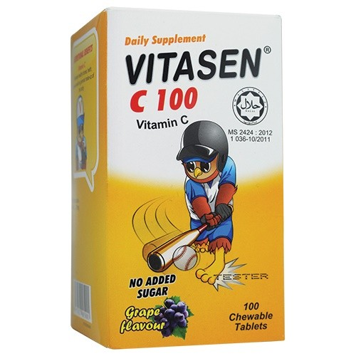 VITASEN VITAMIN C100 chewable 100's grape