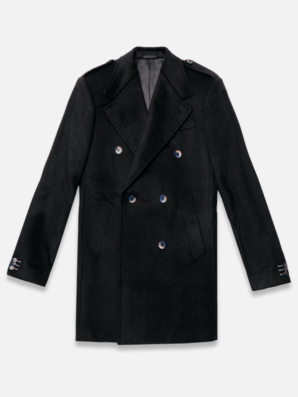 db black double-breasted custom wool cashmere coat