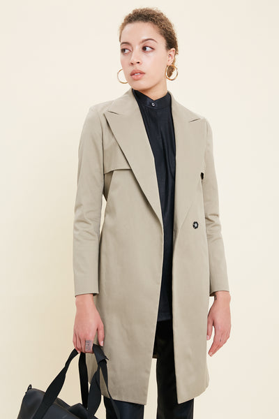 Custom Tailored Women's overcoat Coat in Sand Stretch Cotton