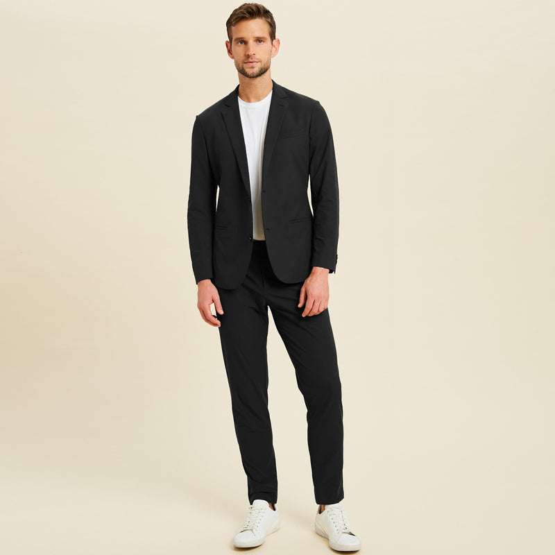 Bespoke Custom Athleisure Technical Men's Suit Los Angeles model Jimmy in Black