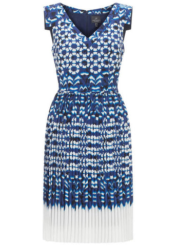 Adrianna Papell Women's Cap Sleeves Ikat Pleated Dress Sz 10