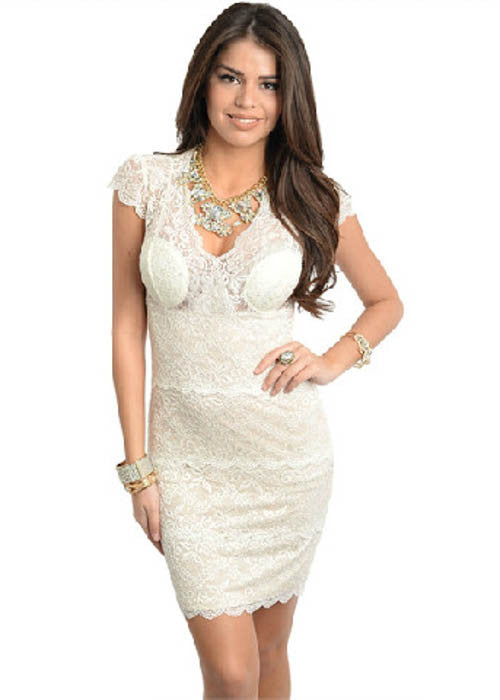 Ark & Co. Women's Ivory Fitted Lace Dress Sz S, M, L - iFIVE FASHIONHOUSE
