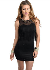Zinga Women's Fringe Accent Bodycon Dress Sz S, M, L - iFIVE FASHIONHOUSE