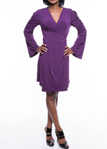 S-Twelve Women's Wrap-Over Cold Shoulder Split Sleeves Purple Dress Sizes S M L