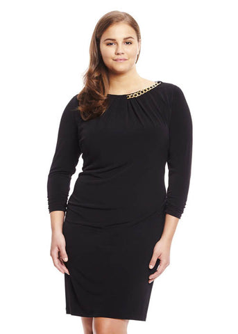 Tahari ASL Women's Embellished Neckline Jersey Dress Plus Sz 18W