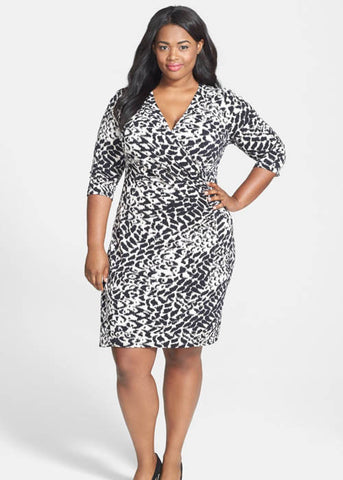 Taylor Women's Jersey Faux-Wrap Animal Print Plus Dress Sz 22W, 24W