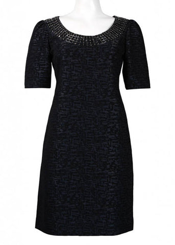 Adrianna Papell Women's Navy Mid-Sleeves Lined Dress Sz 4, 6, 8