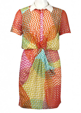 Walter Baker Women's Zigzag Print Chiffon Dress