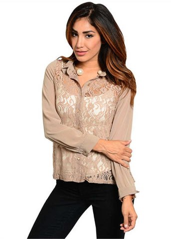In Style Women's Collection Buttoned Chiffon Top Sz S, M, L
