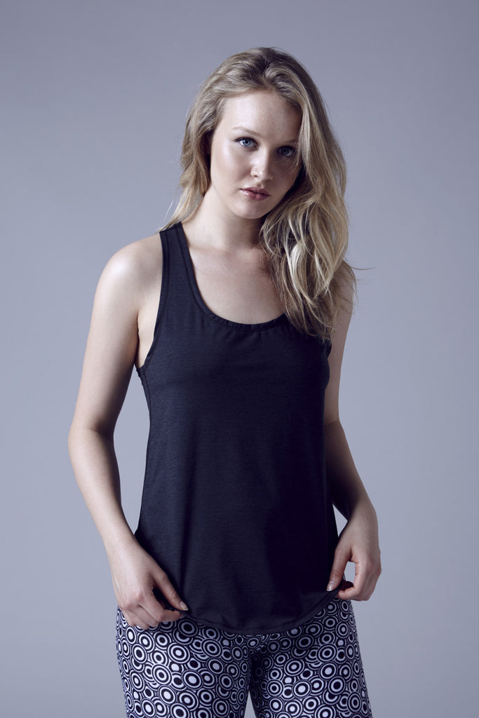 Tiny Fish loose racer back tank- black