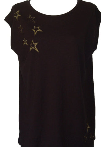 Bowery Sleeveless T-shirt | Stars | Black and Gold