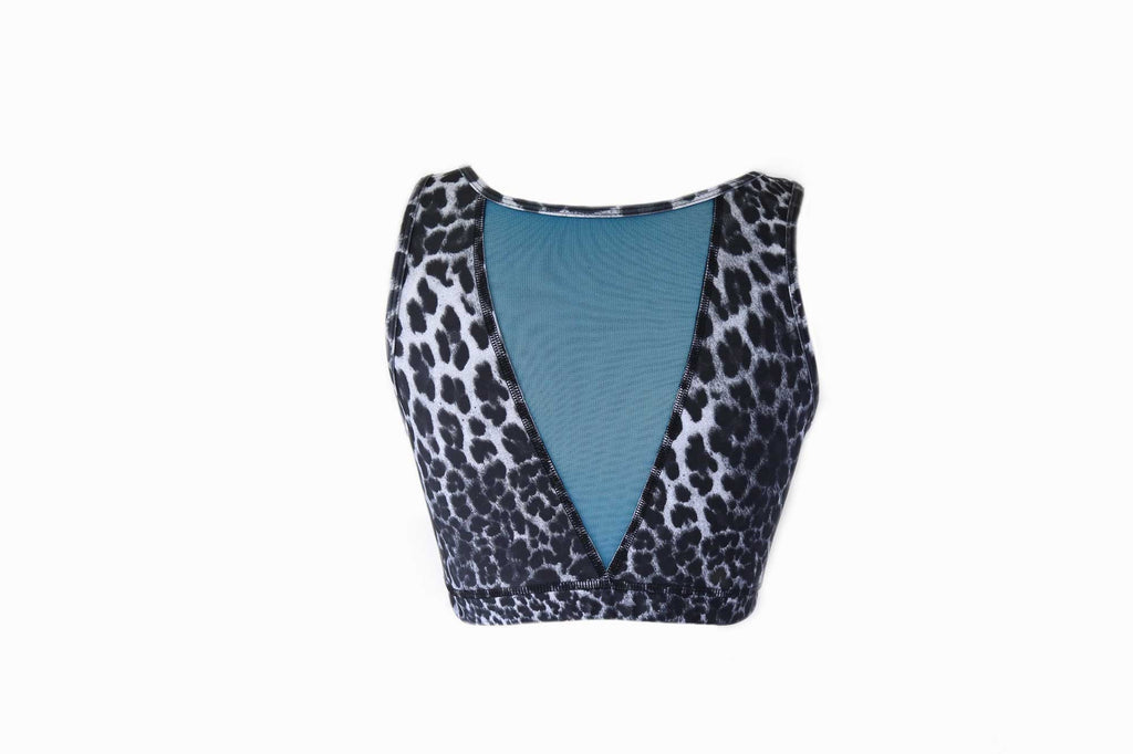 Union Crop Top || Leopard and Turquoise Mesh