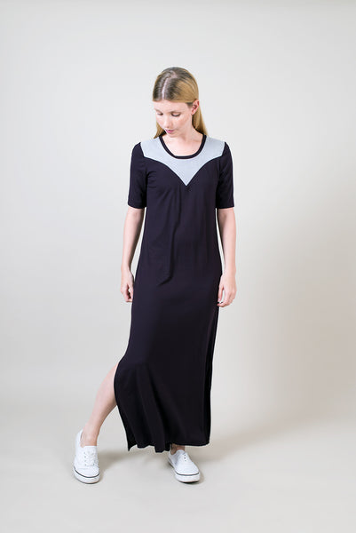 Half sleeve maxi dress