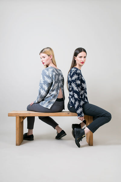 Open back top with long sleeves, Botanical print