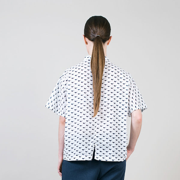 Boxy blouse in navy bird print