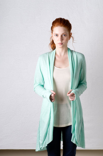 Extra long waterfall cardigan