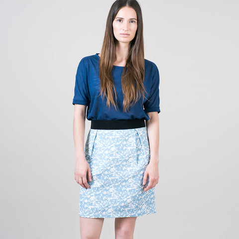 elastic waist a-line skirt in pattern