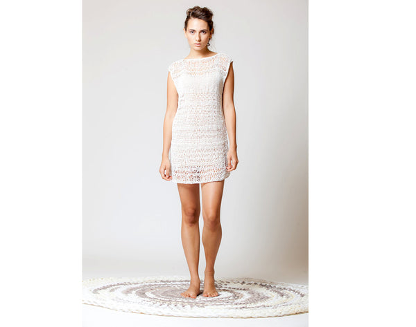 White dress, hand knitted